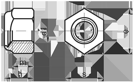 Самоконтрящаяся шестигранная шайка с нейлоновым кольцом DIN 985 (латунь)