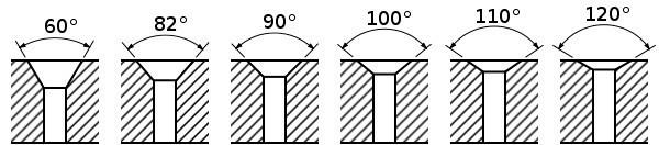 Сечение зенкованных отверстий с разными углами фаски