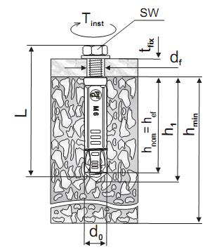 Анкер SORMAT PFG LB - чертеж, схема