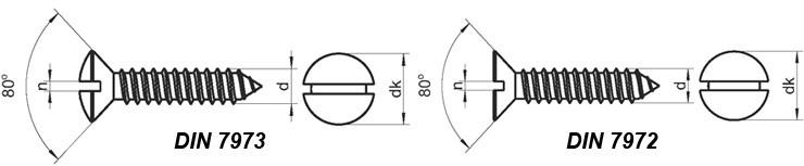 Саморезы для листового металла с потайной и полупотайной головкой и прямым шлицем