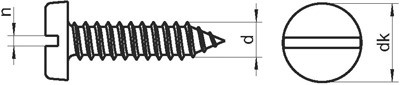 Саморезы (шурупы) по металлу с полукруглой (цилиндрической) головкой и прямым шлицем DIN 7971