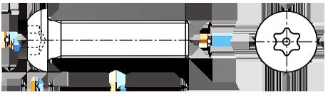 Чертеж винта DIN 7380 TORX Pin под внутренний шестигранник
