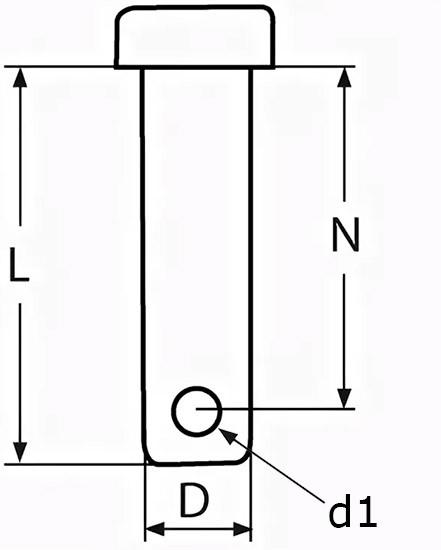 Такелажный палец (арт. 8279) с отверстием - чертеж, схема