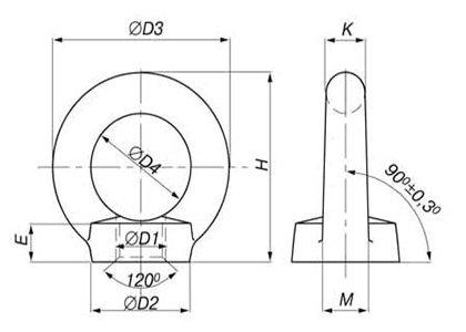 Схема рым-гайки DIN 582