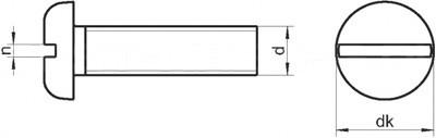 Винты с прямым шлицем с цилиндрической скругленной головкой DIN 85, ГОСТ 17473-80, EN ISO 1580