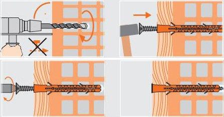 размеры дюбеля для кирпичной стены