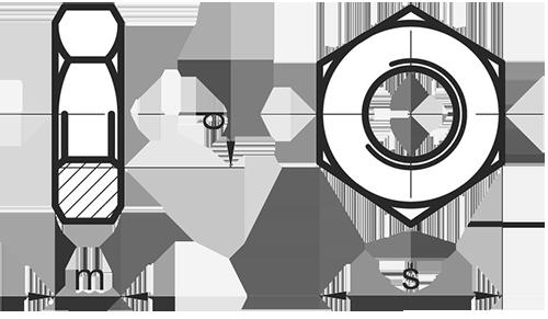 Шестигранная латунная контр-гайка DIN 936